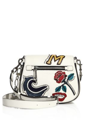 MJ Collage Dove Leather Small Saddle Bag w/Multi Patches