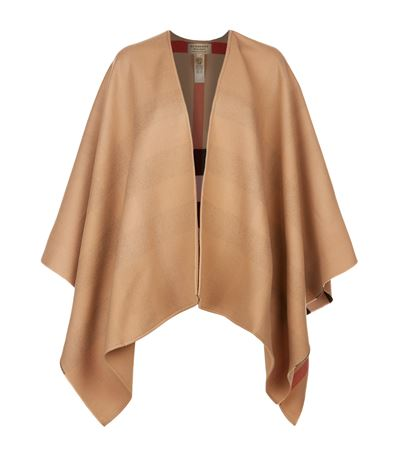 Reversible Beige Solid Check Charlotte Cape Scarf