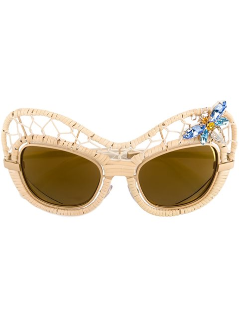 CRYSTAL EMBELLISHED STRAW SUNGLASSES