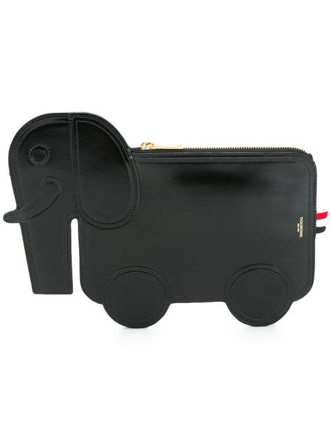 Elephant Clutch In Black Calf Leather