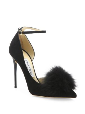 Jimmy Choo Suedes Rosa 100 Fox Fur Pom-Pom & Suede d'Orsay Ankle-Strap Pumps