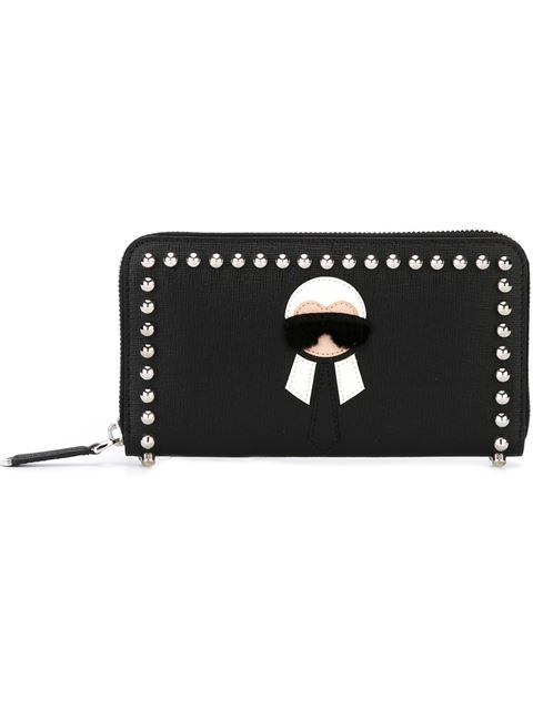 Karlito Continental Zip Wallet in Elite Calf Leather and Studs