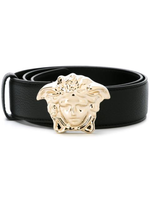 black Medusa logo buckle leather belt