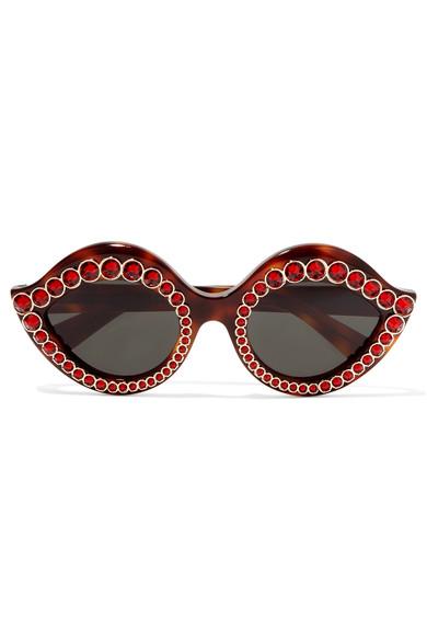 Women's Crystal Cat Eye Tortoiseshell Sunglasses in Brown