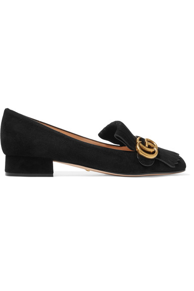 Marmont fringed logo-embellished suede loafers