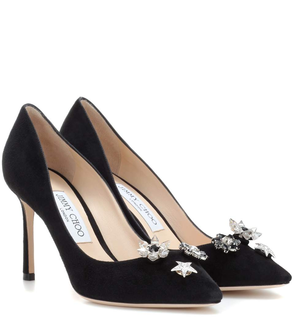 Jimmy Choo Suedes Jasmine 85 pumps with crystal buttons