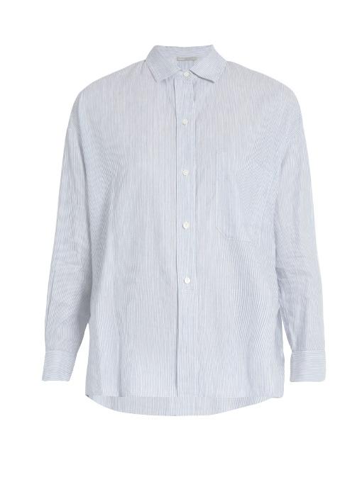 Vince Cottons Striped linen and cotton-blend shirt