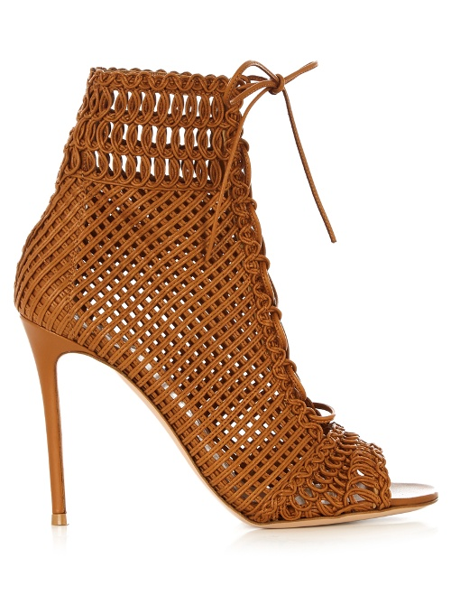 Gianvito Rossi Leathers Marnie woven-leather ankle boots