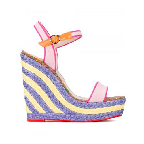 Sophia Webster Canvases 'Lucita Sand' wedge sandals