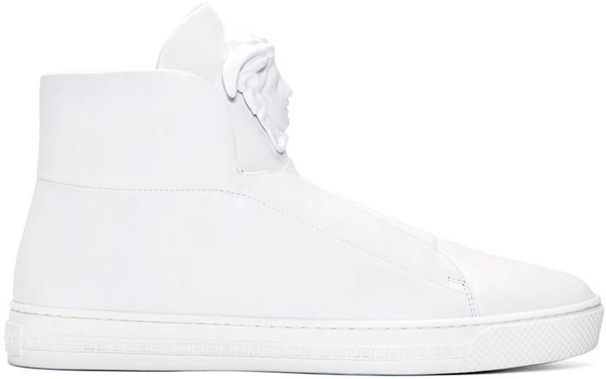 White Leather Medusa High-Top Sneakers