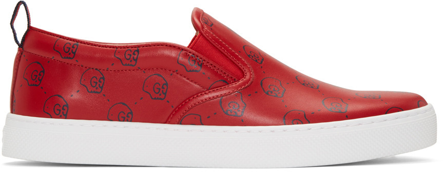 Gucci Leathers Red Gucci Ghost Dublin Slip-On Sneakers
