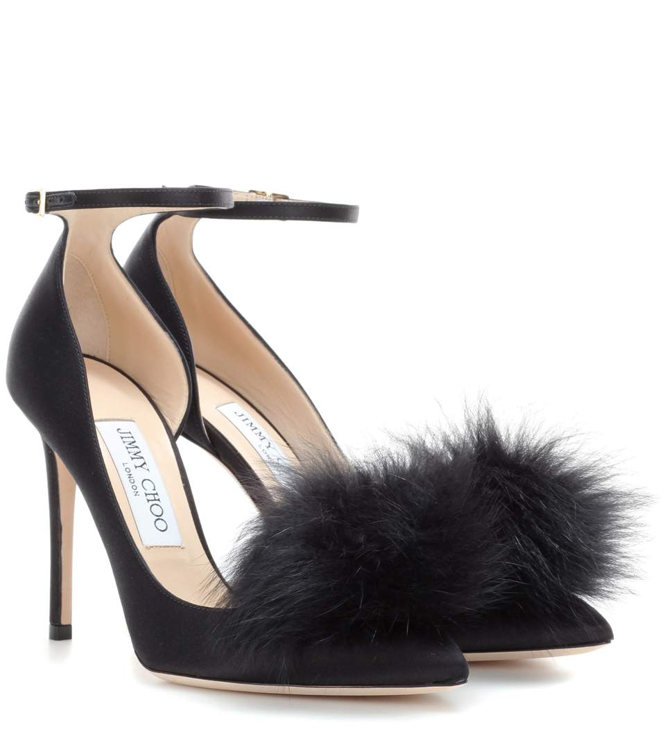 Jimmy Choo Suedes Rosa 100 satin pumps with clip-on fur pompoms