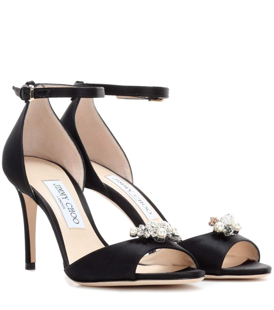 Tori 85 satin sandals with crystal-embellished clips