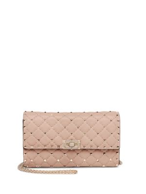 ROCKSTUD SPIKE BLUSH LEATHER SHOULDER BAG