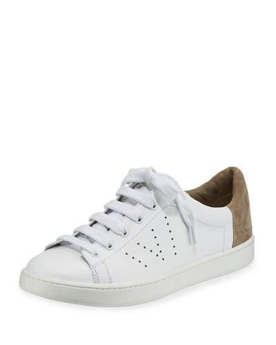 Vince Leathers VARIN LEATHER LOW-TOP SNEAKER, WHITE/WOODSMOKE