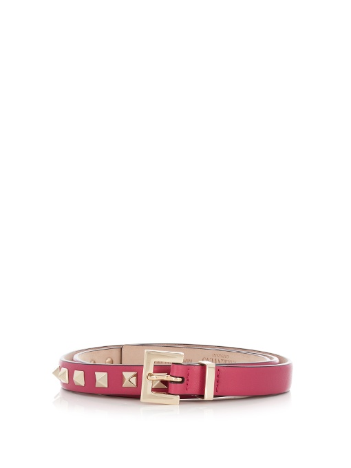 GARAVANI ROCKSTUD SKINNY CALFSKIN LEATHER BELT