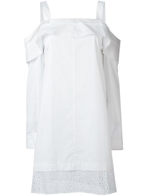 Proenza Schouler Cottons PROENZA SCHOULER OFF-SHOULDER DRESS - WHITE