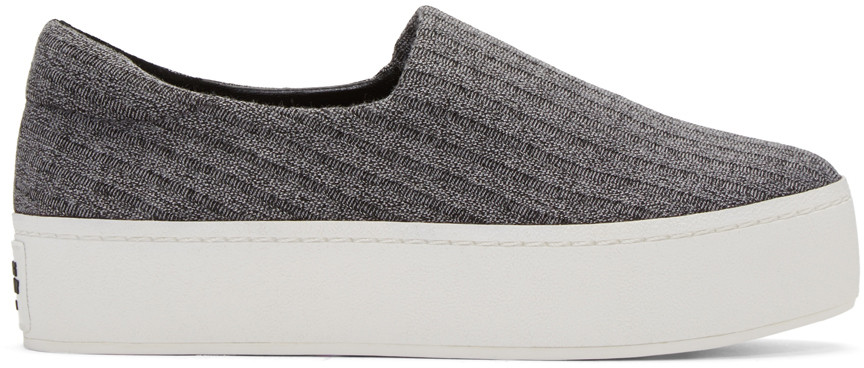 Opening Ceremony Leathers Grey Platform Cici Slip-On Sneakers