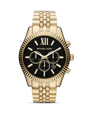 Michael Kors Jewelries Men's Gold Tone Lexington Chronograph Watch, 45mm