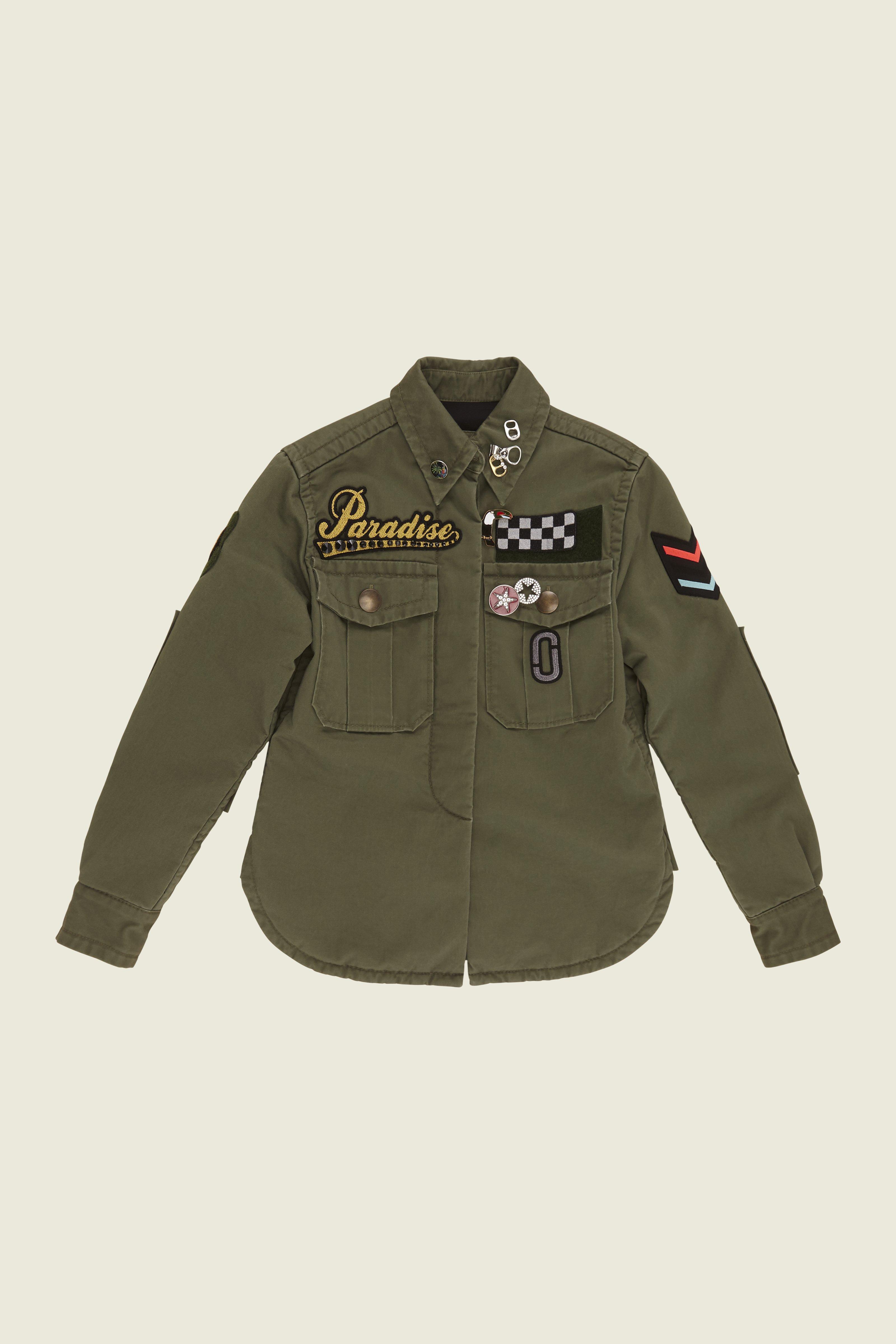 Embellished enzyme wash padded military shirt