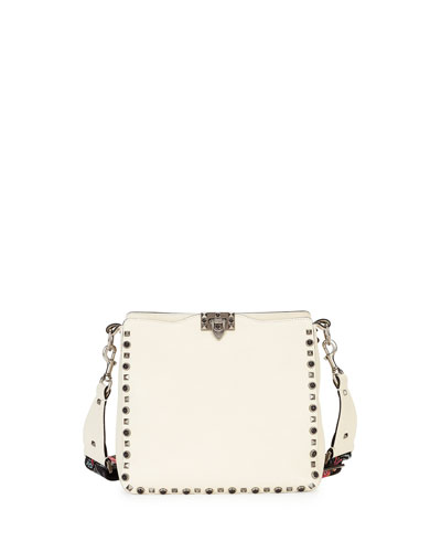 Valentino Leathers GUITAR ROCKSTUD ROLLING NOIR CAMU BUTTERFLY HOBO BAG, IVORY