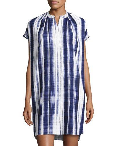 Vince Dresses BRUSHSTROKE-PRINT DRESS, OFF WHITE/BYZANTINE
