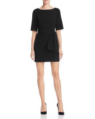 VIRGIL BOAT-NECK BELTED DRESS, BLACK