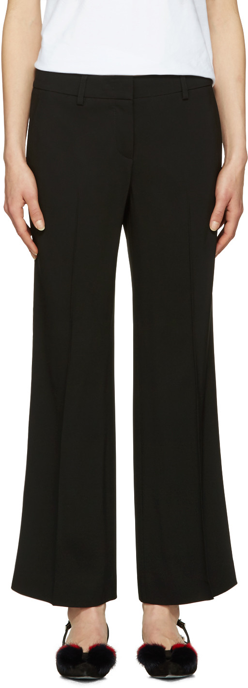 CROPPED STRIPED SILK-TRIMMED WOOL-BLEND FLARED PANTS