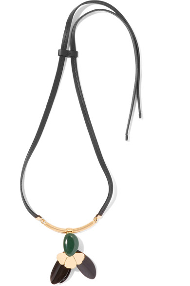 WOMAN GOLD-TONE, HORN, LEATHER AND RESIN NECKLACE BLACK