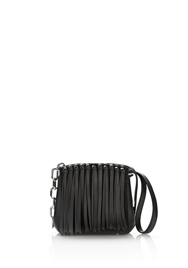 Alexander Wang Canvases ATTICA FLAP MARION IN BLACK FRINGE WITH RHODIUM