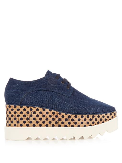 STELLA MCCARTNEY Women'S Goret Denim Cork Platform Shoes In Indigo, Navy