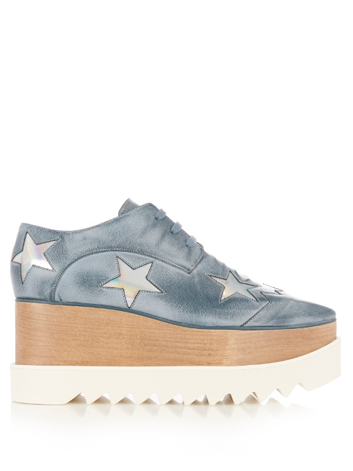 Elyse stars faux-leather flatform brogues