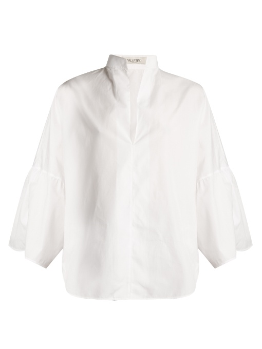 Valentino Cottons MANDARIN-COLLAR WIDE-SLEEVE COTTON-POPLIN SHIRT