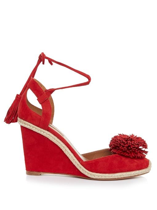 Aquazzura Suedes Sunshine suede fringed wedge sandals
