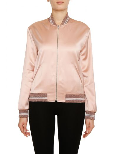 Women's Love Patch Satin Bomber Jacket in Pink