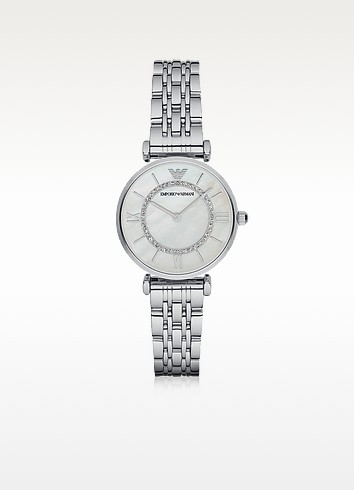 T-BAR SILVERTONE STAINLESS STEEL WOMEN'S WATCH W/MOTHER OF PEARL AND CRYSTALS DIAL