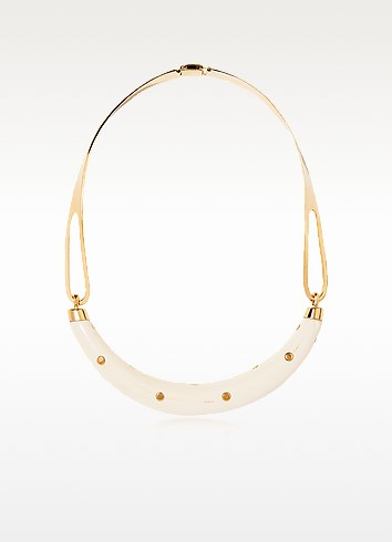 STUDDED CAFTAN GOLD PLATED AND RESIN HORN MOON NECKLACE