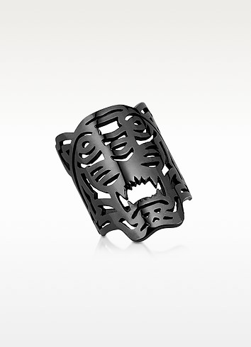 RUTHENIUM PLATED STERLING OVERSIZED TIGER RING