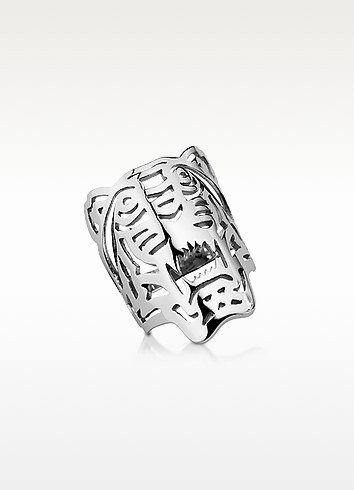 STERLING SILVER OVERSIZED TIGER RING