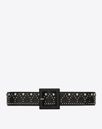 Y STUD CORSET BELT IN BLACK LEATHER AND OXIDIZED NICKEL