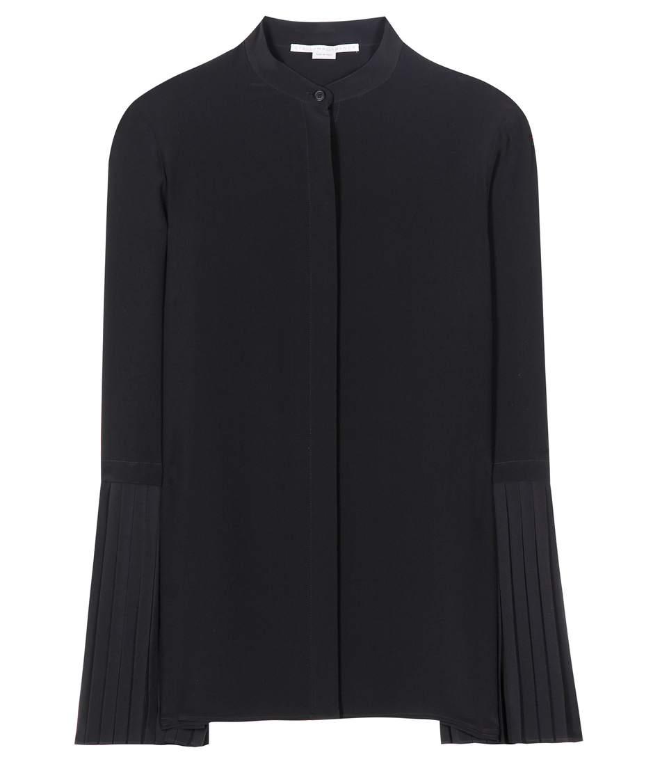 'Arielle' pleated sleeve silk shirt