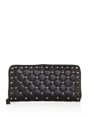 Rockstud Spike Quilted Leather Zip-Around Continental Wallet