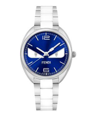 Momento Fendi Bug Diamond, Stainless Steel & Ceramic Bracelet Watch