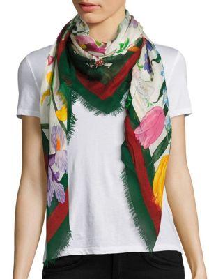 Printed wool and silk-blend scarf