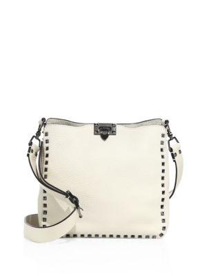 Valentino Leathers Rockstud Small Leather Hobo Bag