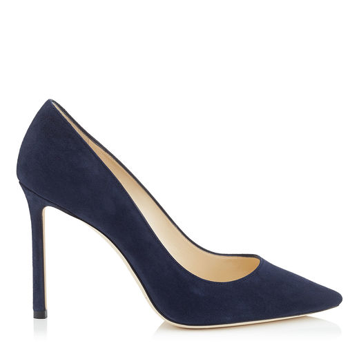 ROMY 100 Navy Suede Pointy Toe Pumps