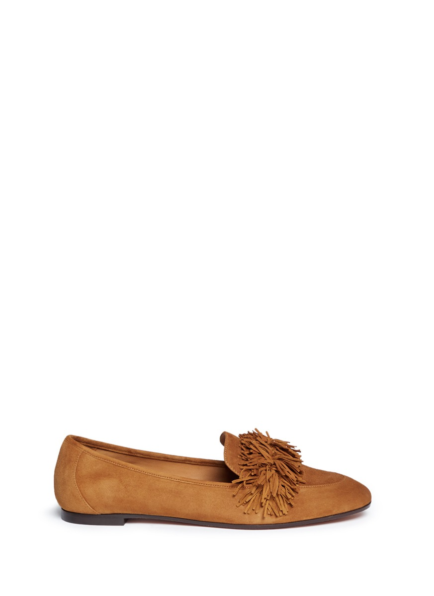 WOMAN WILD FRINGED SUEDE LOAFERS CAMEL