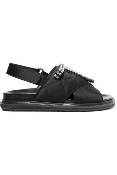 Marni Crystals Crystal-embellished quilted satin sandals