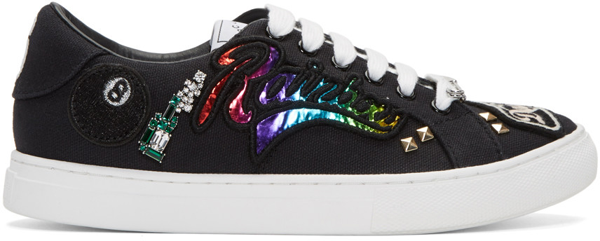 Canvas Sneakers with Patches and Embellishments