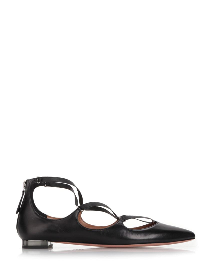 Aquazzura Leathers Black leather 'Misha' ballerinas